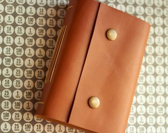 Handmade Leather Journal, Pocket Leather Notebook, Travel Journal, A6, Blank Cream Paper