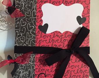 Journal-Smash Book-Junk Journal-Memory Book-Album-Wedding-Love-Red and Black-Hearts