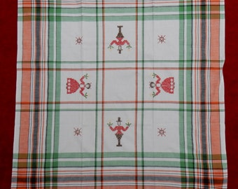 Swedish lovely hand embroidered table cloth from the 1950s / retro / vintage/christmas motif