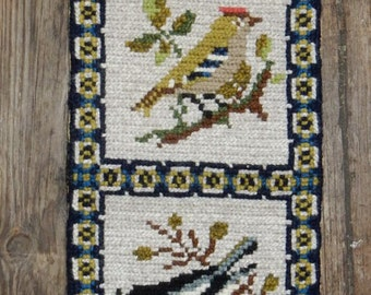 Swedish hand embroidered wall hanging 1970 s / birds