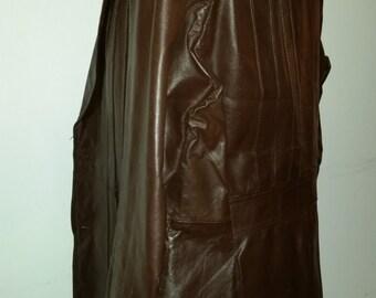 Vintage Men's Leather Blazer 70's Brown Leather Jacket Super Fly Hipster Jacket Size 40 Made by Ambassador