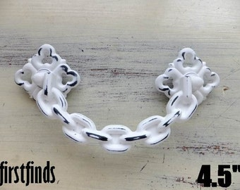 White Handle Chain Swing Shabby Chic Furniture Painted Cabinet Cupboard Dresser Drawer Pulls Hardware 4.5inch ITEM DETAILS BELOW