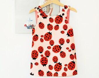 Girls dress Girls pinafore dress Toddler pinafore Crossover dress Girls ladybird dress 1st Birthday dress Ladybird party dress Apron dress