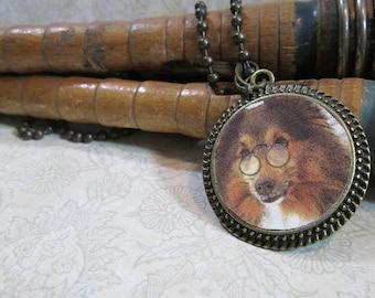 Steampunk Necklace: Composed Sheltie, Bronze Round Pendant & Chain