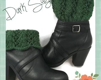 Ladies Boot Cuffs Dark Sage Green Lace Caron Simply Soft