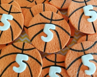 12 Fondant edible cupcake/cookie toppers - Basketballs, sport themed event, baseball, football, soccerball,fondant basketball,birthday party