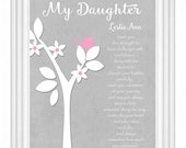 Personalized Daughter Gift - Custom Gift for Daughter -Mother Daughter Gift - Daughter Verse Print -Other colors & personalization available