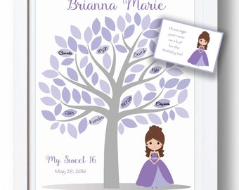 Sweet 16 Guestbook Alternative 11x14 Sign-In Tree - Quinceañera Guest Book Poster - Bat Mitzvah - 75 leaves -READ DESCRIPTION- Other colors