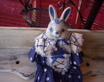 Muslin rabbit/Muslin bunny/Easter bunny/Easter rabbit/Blue & white Bunny with outfit/Porcelain rabbit doll/Easter doll/Porcelain bunny doll