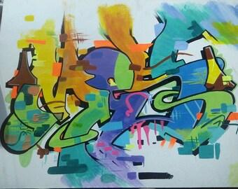 "Graffiti Print ""MESS"""