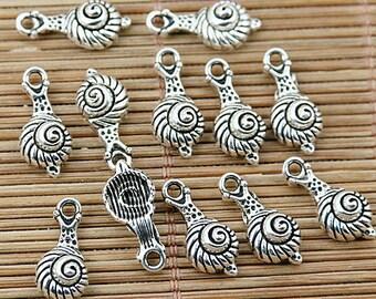 56pcs tibetan silver tone snail design charms EF1716