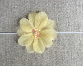 Yellow silk flower headband