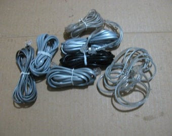 Lot set of 8 telephone wire and plugs to hook up phones