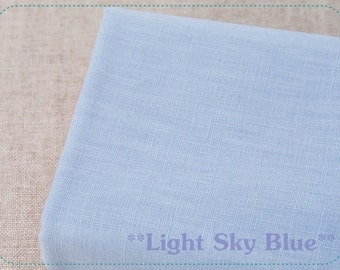 "FREE SHIPPING - F059 Linen Slub fabric of solid plain color (Light Sky Blue) - 45cm x 65cm / 17.5"" x 25.5"""