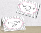 Editable PDF Printable - Grey and Pink - Zebra Label / Sticker / Tent Card / Tags / Place Card - DIY