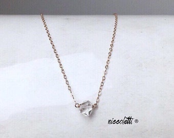 Set of BRIDESMAID Herkimer Diamond Necklaces / Genuine Quartz / Romantic Jewelry / Modern Bridal Party / Blush Wedding / Diamond Solitaire