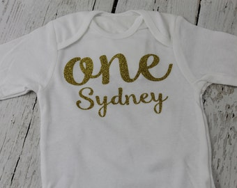 1st Birthday ONE Long Sleeved Personalized 2nd Birthday TWO Shirt Girls Gold Glitter ONE Shirt Baby Girls Birthday Bodysuit 3rd Birthday
