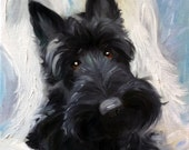 "CANVAS PRINT Scottish Terrier Scottie Dog ""Scottish Angel"" Angel wings black scotty puppy/ Mary Sparrow of Hanging the Moon Art Studio"