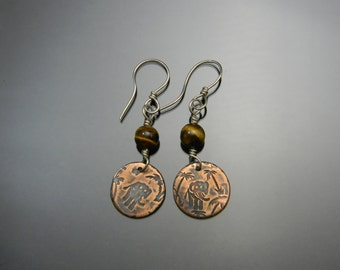 Boho Earrings, Elephant Earrings, Tiger's Eye, Bi-Metal Earrings, Silver and Copper, Earthy Earrings, Long Dangle Earrings