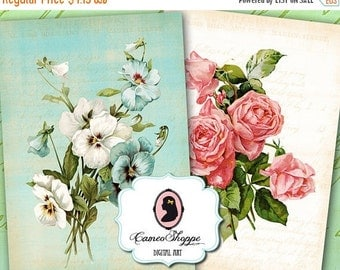 75% OFF SALE SHABBY Chic Flowers Digital Collage Sheet Set of 8 Atc cards Digital scrapbooking download