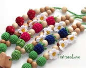 Children's toy - Teething Necklace - Wooden beads - Nursing necklace -for Mommy - Maternity - Babywearing - Summer - Berries - Ready to ship