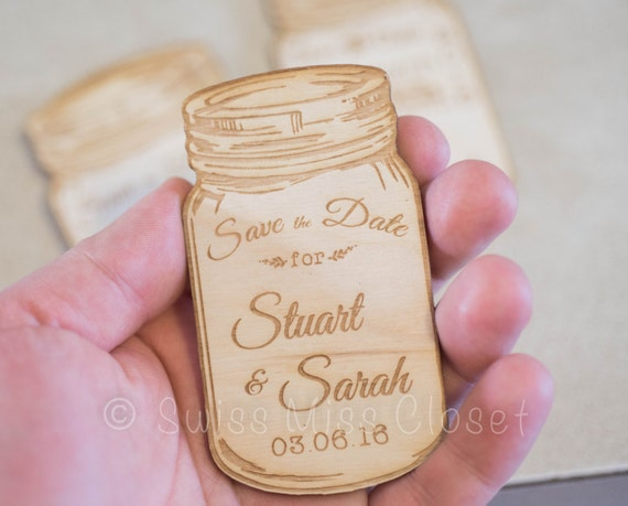 Set of 10 Wooden Save the Date Rustic Canning Jar Engraved Wood