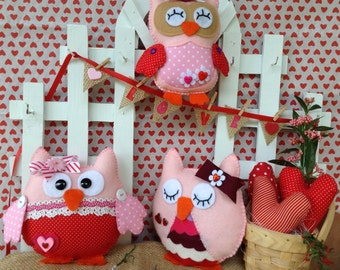 Felt Owl ornaments.Valentine owl.