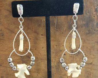 Hand Made Sterling Silver and Muskrat Vertebrae Bone Chandelier Earrings