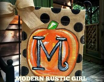 Burlap Garden Flag Pumpkin with Monogram