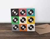 Pop Art Music Greeting Card - 'Now Spinning Pop' - note card for music lovers and musicians. Vinyl record inspired design.