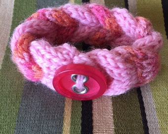 Hand knit bracelet/cuff with button