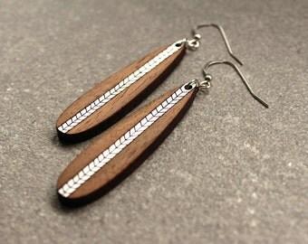 Chevron Drop Earrings   Laser Cut Earrings   Wood Earrings   Gifts Under 50   minimalist Earrings   Modern Earrings   Handpainted Earrings