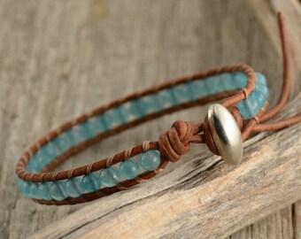Skinny bohemian beach chic bracelet. Sky blue bracelet