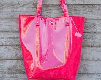 Mana Neon Pink/ Neon Foil Bag / Foil Handbag/ Fashion Peach Bag/ Foil Tote Bag/