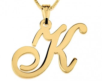 24K Gold Plated Initial Necklace with chain