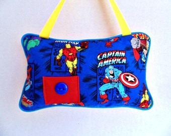 Personalized Avengers Tooth Fairy Pillow, Hanging Pillow, Marvel Pillow, Hulk and Captain America Decor, Boys Room Decor , Thor