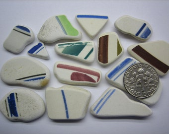 BEACH SEA POTTERY 15mm - 30mm Shards Green Blue Teal Brown Black Pink Lime 14 Natural Surf Tumbled Beach Undrilled Ceramic Shard   U 341c