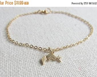 Dainty Fox Bracelet, Cute Minimalist Modern Gold Bracelet, Everyday Jewelry, Animal Charm Bracelet, Woodland