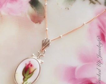 Broken China Jewelry, Broken China Necklace, Old Country Roses China, Sterling Silver Rose Gold Plate Necklace
