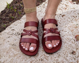 Leather Sandals, IRIS, Womens Shoes, Jesus Sandals, Flip Flops, Slides, Slippers, Biblical Sandals
