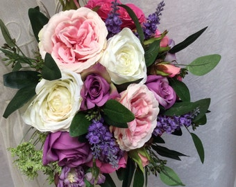 Artificial Silks Summer Pinks Purples Creams Rose Wedding Hand-Tied Bouquet
