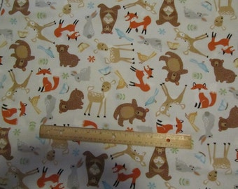 Gray Woodland Animal/Fox/Bear/Deer Flannel Fabric by the Yard