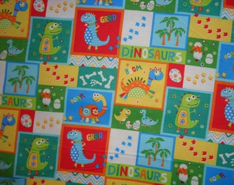 Multicolor Blocked Dinosaur Flannel Fabric by the Yard