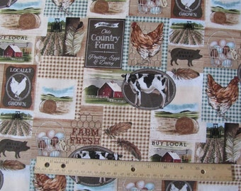 Brown Farm Theme Blocked/Plaid Cotton Fabric by the Yard