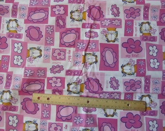 Pink Girly Garfield Flowered Cotton Fabric by the Yard