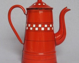 """Vintage French Enamelware Coffee Pot with vibrant red and white """"Lustucru"""" check pattern"""