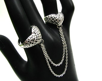 Two Finger Ring - Twins Rings - Silver Heart Ring - Size 7 Ring - Size 5 Ring - Silver Mesh Ring - Statement Ring - Chain Rings
