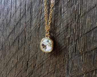 Crystal Necklace Swarovski Bridal Necklace Cushion Square Pendant on Silver or Gold Chain Bridal Necklace