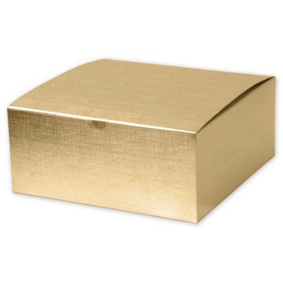12 Large Square Gold Linen Foil Gift Boxes 8x8x3 5 Bridesmaid