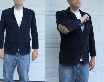 1970s Vintage mens navy blue corduroy blazer with suede elbow patches